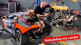 REBUILDING MY DESTROYED LAMBORGHINI'S V10 ENGINE! *DAMAGE FOUND*