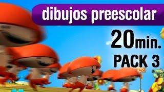 Video de dibujos animados, varias series preescolar, 20 minutos - Pack 3