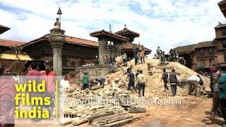 Bhaktapur Durbar Square after the earthquake hit Kathmandu
