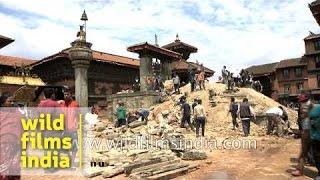 Bhaktapur Durbar Square after the earthquake hit Kathmandu