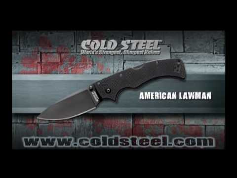 "Cold Steel Mini American Lawman Tri-Ad Lockback Knife G-10 (2.5"" Black) 58ALCM"