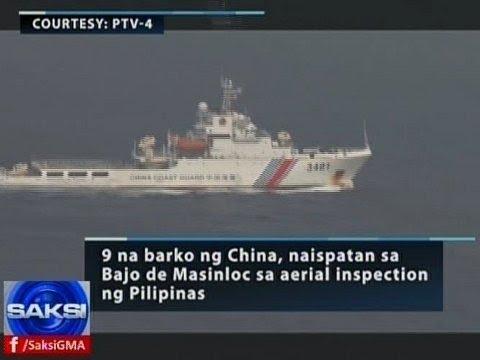Saksi: 9 na barko ng China, naispatan sa Bajo de Masinloc sa aerial inspection ng Pilipinas