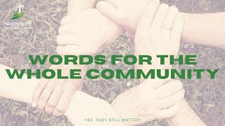 Words for the whole community. Exodus 20.