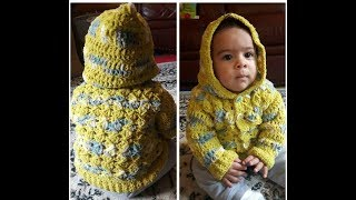 Crochet Baby Sweater With Hoodie From 9 To 12 Months Plus