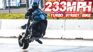 Fastest Street Bike EVER! 750HP Turbo GSXR Goes 233MPH in 6 Seconds (WHEELIES ACROSS FINISH LINE!) by  That Racing Channel