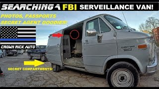 Searching a FBI Surveillance Van! Found Secret Agent Police Goodies!