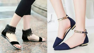 Latest Beautiful Flat Sandals Collection 2018#stylish Footwear For Girls