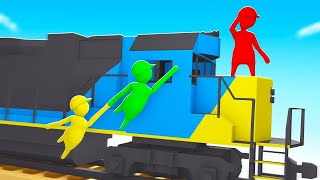 HIDING On The SIDE Of A MOVING TRAIN! (Human Fall Flat)