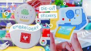 Studio Vlog - 🎨 Die Cut Stickers + 🎁 How I Finish My Embroidery Hoops