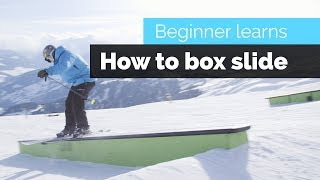 HOW TO BOX SLIDE / GRIND ON SKIS   A BEGINNER SKIERS PROGRESSION