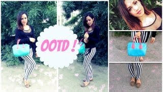 Outfit Striped Leggings And Colorful Bag Ft Persunmall