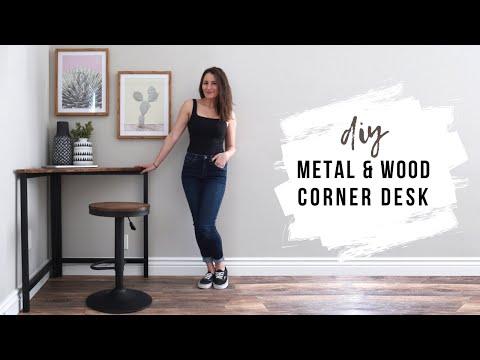 DIY Metal & Wood Corner Desk