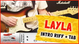 How To Play Layla by Eric Clapton On Guitar  (intro riff + TAB)