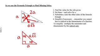 Unit 8 Lesson 2  - Special Right Triangles