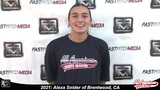 2021 Alexa Snider Pitcher Softball Player Skills Video - AASA Pikas