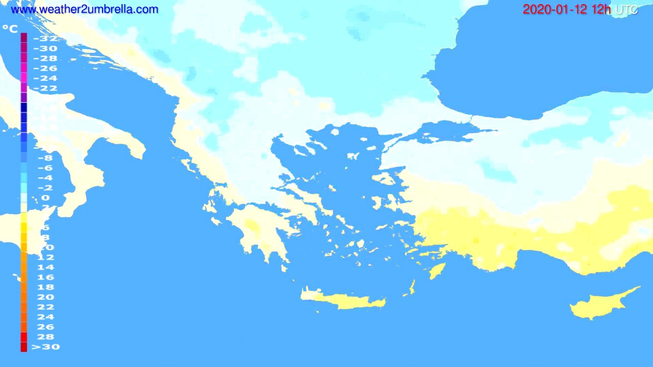 Temperature forecast Greece // modelrun: 12h UTC 2020-01-11