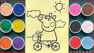 Đồ chơi tô màu tranh cát PEPPA PIG đạp xe đạp - Colored sand painting Peppa Pig (Chim Xinh)