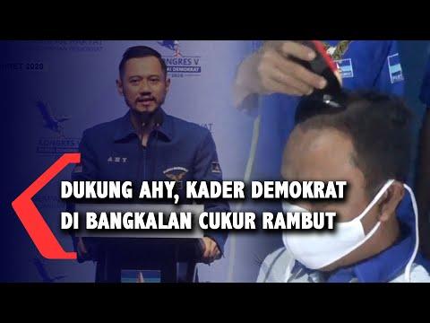 Dukung AHY, Kader Demokrat di Bangkalan Cukur Rambut