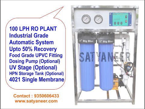 100 LPH RO Plant with Commercial 4021 Membrane Single Pump and Single Membrane System