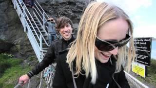Nick and Sam cross the Rope Bridge