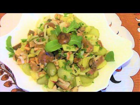 Салат из соленых грибов с картофелем  ./Вкусный салат с грибами . / Простой салат с грибами.