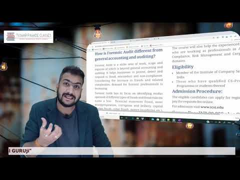 Forensic Audit | Introduction | CS Professional | Demo Lecture ...