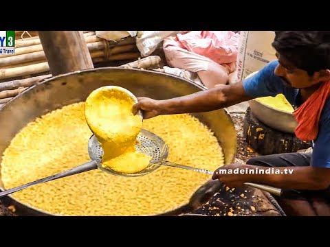 VILLAGE STYLE KARA BOONDI MAKING   SMALL BALL SHAPED GRAM FLOUR  FRITTERS street food