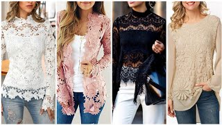 Trendy Different Type Of Crochet Flower Lace Top Blouse And Shirts Designs High Class Women 2020