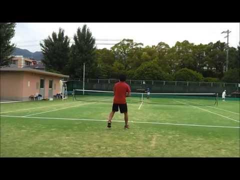 素人大学生のテニスラリー 低視点 Tennis Rally Practice (court level)