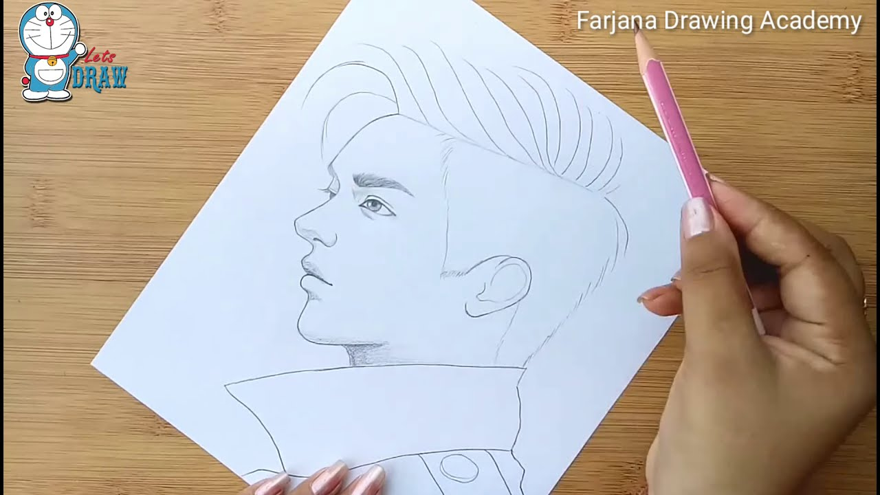 pencil drawing a boy face by farjana drawing academy