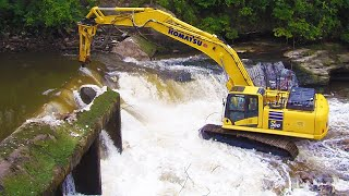 Amazing Removing Dam With Excavator ! Heavy Equipment Busting Dam Compilation