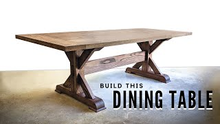 How To Build A FARMHOUSE TRESTLE TABLE - DIY Woodworking