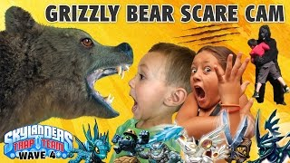 GRIZZLY BEAR SCARE CAM SURPRISE! Skylanders Trap Team Wave 4: Blackout, Spotlight, Short Cut, Echo +