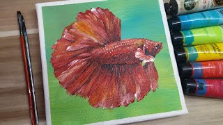Acrylic Painting / How To Paint A Tropical Fish/ Betta / Easy Painting Tutorial #106