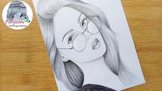A Girl With Beautiful Hair Pencil Sketch || How To Draw A Girl With Glasses || Bir Kız Nasıl çizilir
