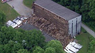 Kentucky whiskey storage warehouse collapses