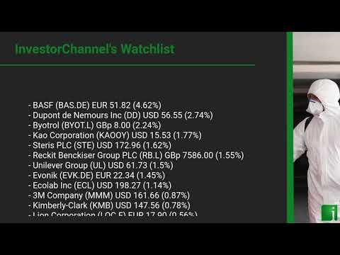 InvestorChannel's Disinfection Watchlist Update for Monday, September 28, 2020, 16:30 EST