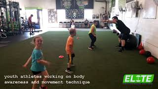 Youth Athletes Working on Body Awareness