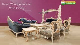 #206 White Gold Wooden Sofa Set With Swing | Royal Living Room Furniture  @Aarsun Woods
