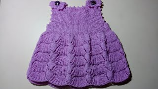 427 - baby frock knitting design for 0 to 6 month ( in hindi )