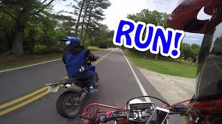 Motorcycles CHASED by crazy truck!