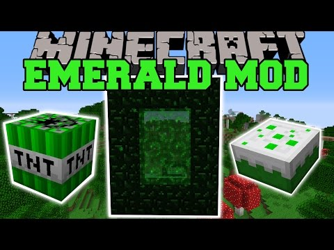 Minecraft: EMERALD MOD (NEW DIMENSION, EXPLOSIVES, WEAPONS, ITEMS, & MORE!) Mod Showcase