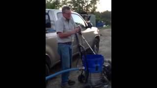 Adding solids handling pump to flood sucker vacuum