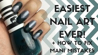 Easiest Nail Art EVER + How To Fix Mani Mistakes | Matte Chevron Nails
