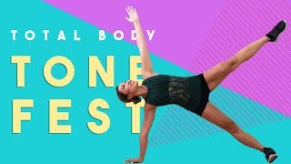 Total Body Tone Fest | Best apartment friendly workout for butt, abs + arms!