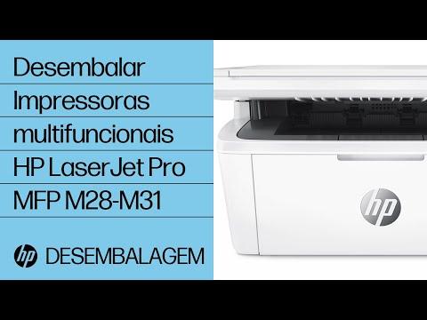 Como desembalar as impressoras multifuncionais HP LaserJet Pro MFP M28-M31