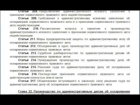 Глава 21  Производство по административным делам об оспаривании нормативных правовых актов, содержан