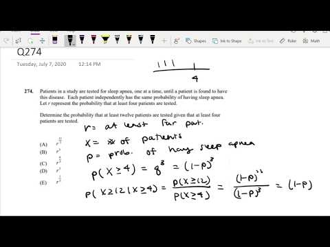 SOA Exam P Question 274   Conditional Probability of some r ...
