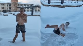 NAKED SNOW JUMPING!