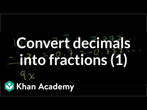 Converting Repeating Decimals To Fractions Part 1 Of 2 Video Khan Academy